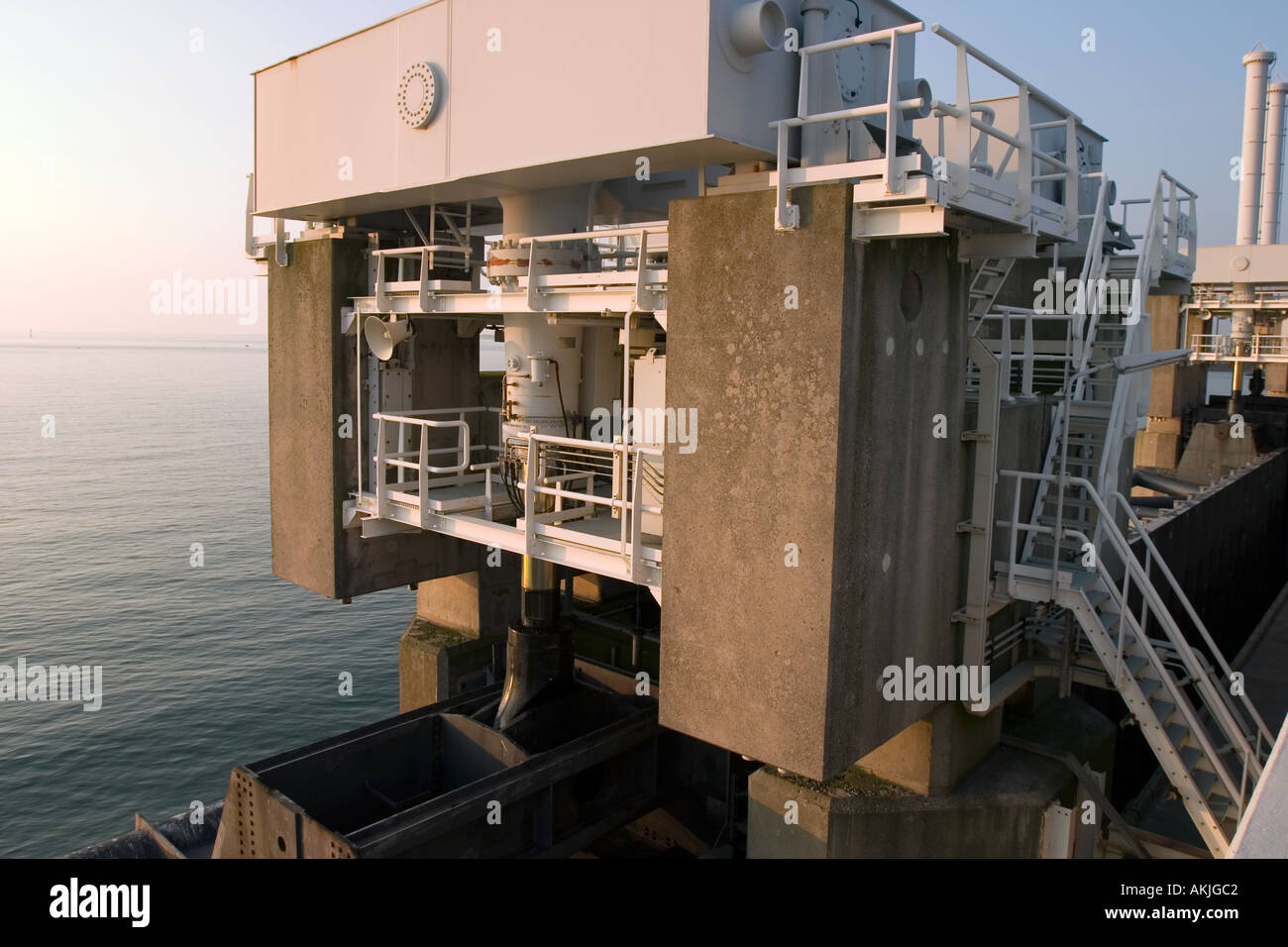 Big hydraulics valves on top of the Storm Barrier to open/close the huge doors in the barrier Stock Photo