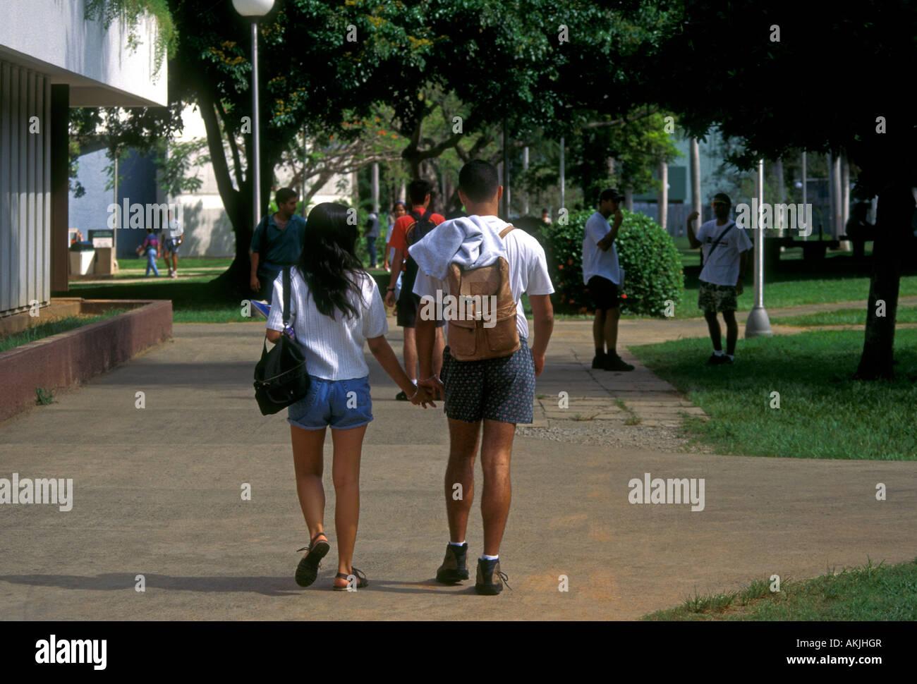Puerto Ricans, Puerto Rican students, college students, university students, students, campus, University of Puerto - Stock Image
