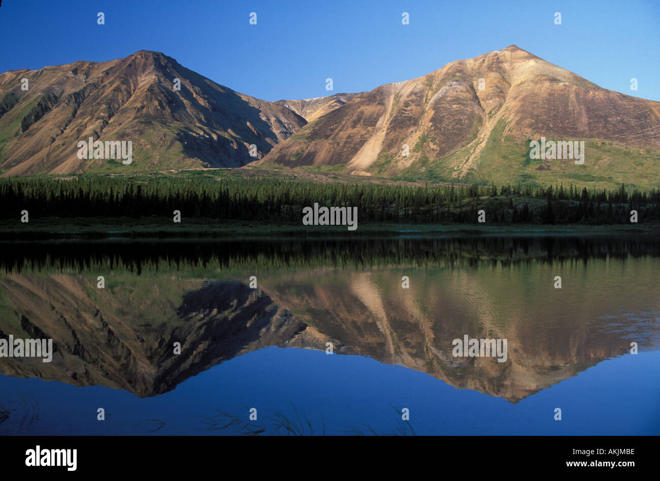 Chigmit Mountains reflection in lower Twin Lake Lake Clark National Park Alaska USA - Stock Image