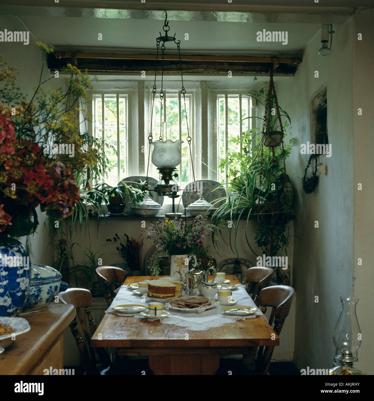 victorian ceiling lamp and green houseplants in small cottage dining