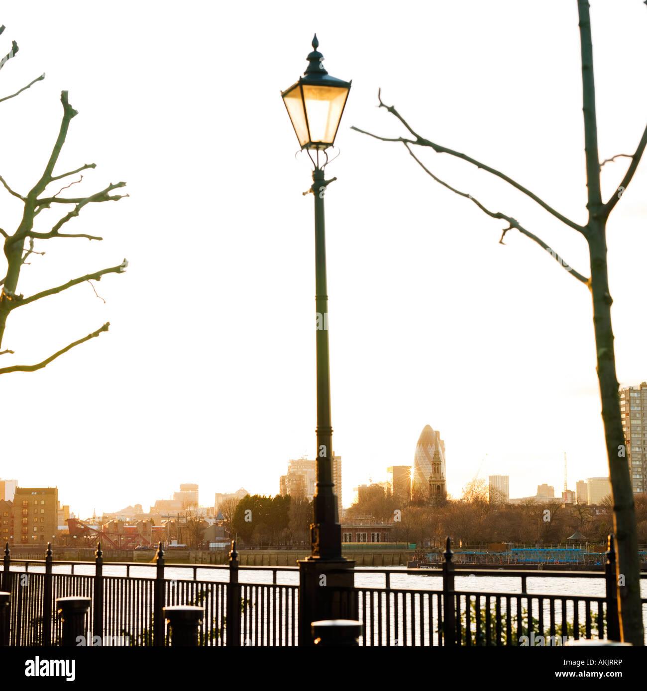 Winter Thames London Skyline With Victorian Lamp Post Lantern