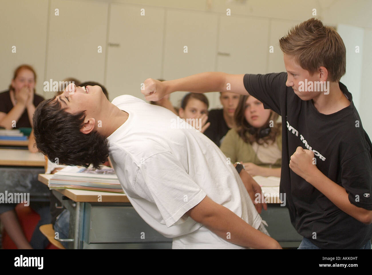 fight between students Stock Photo