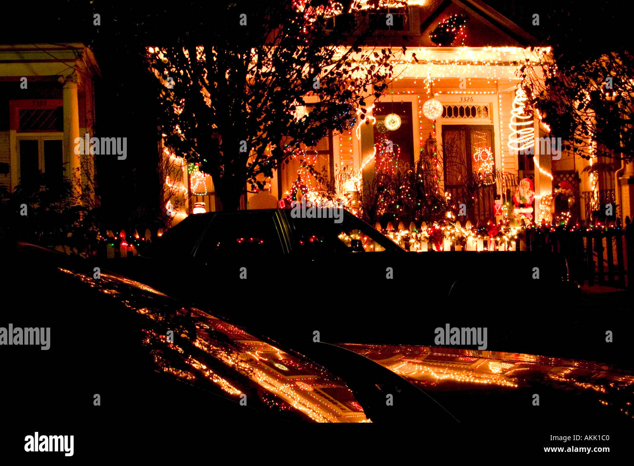 christmas lights decorate a house on dumaine street off bayou st john in new orleans louisiana