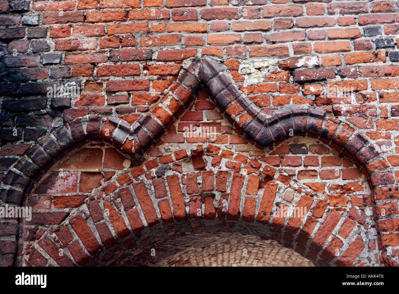 Brickwork design above window, near St Johns Church old Riga Latvia Stock Photo