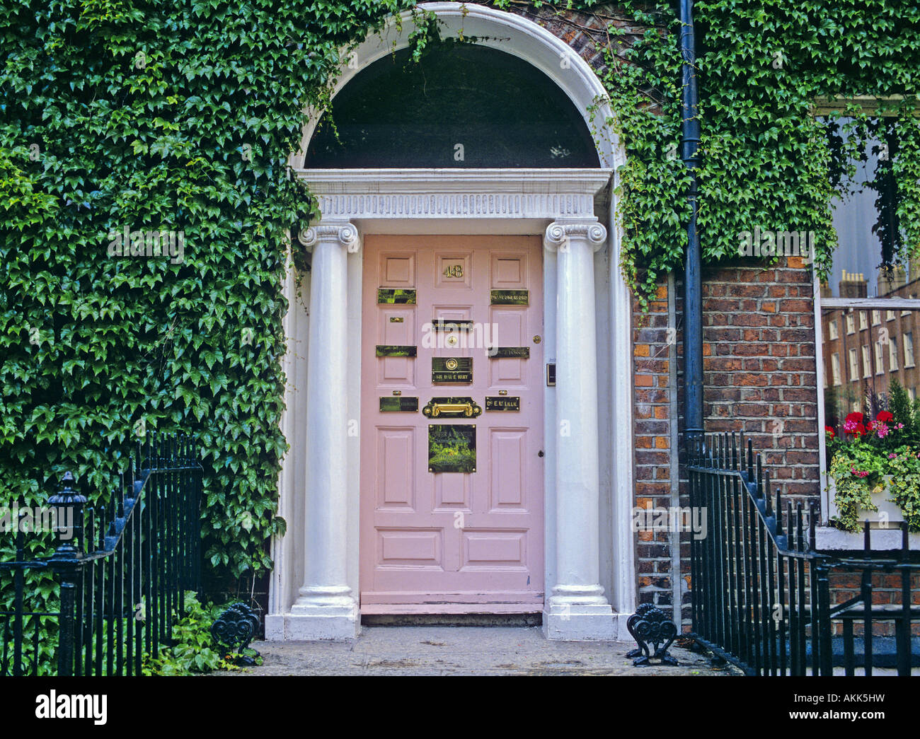 Georgian Style Front Door Of The Town House Dublin Ireland Stock