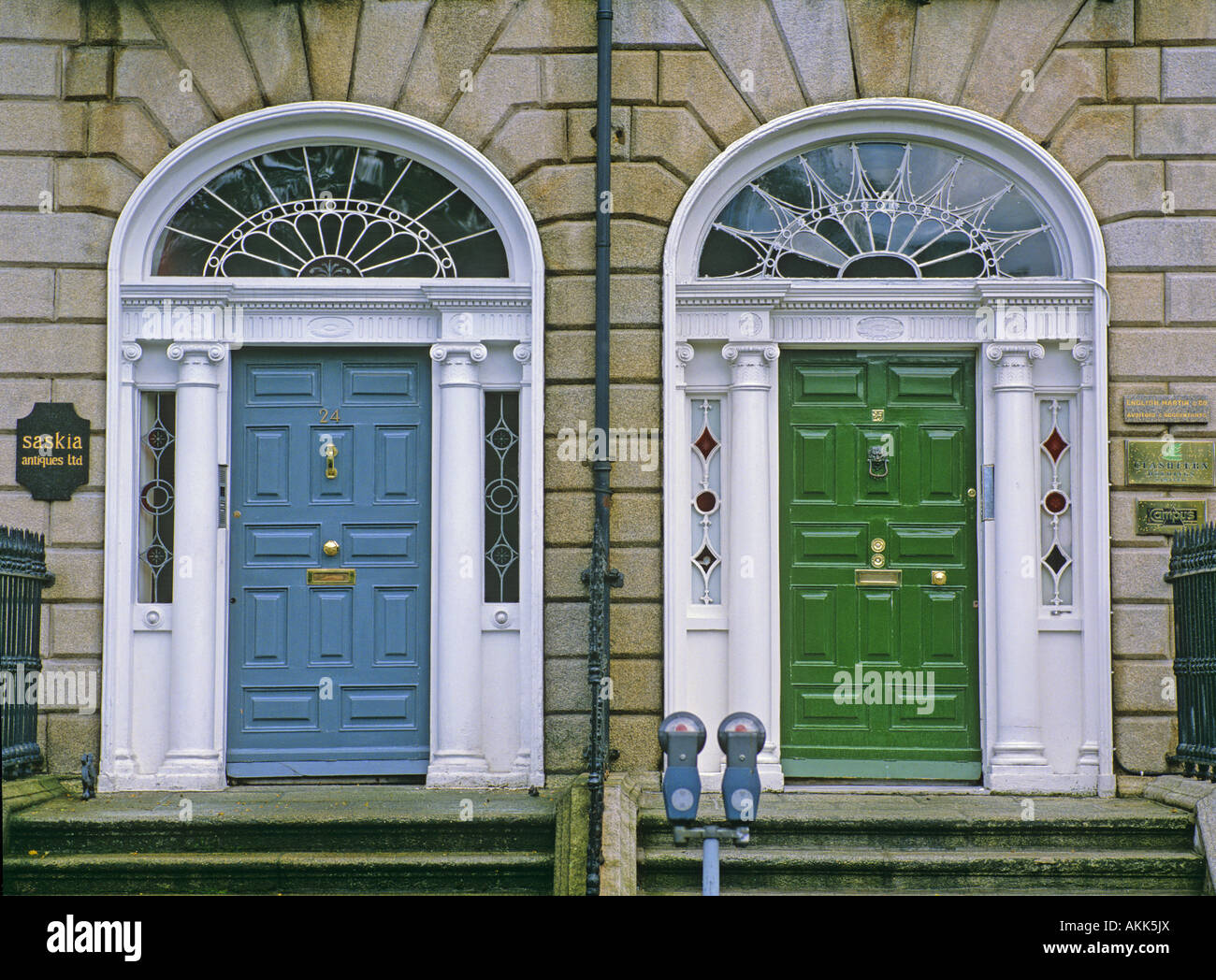 Georgian Style Front Doors Of The Town House Dublin Ireland Stock