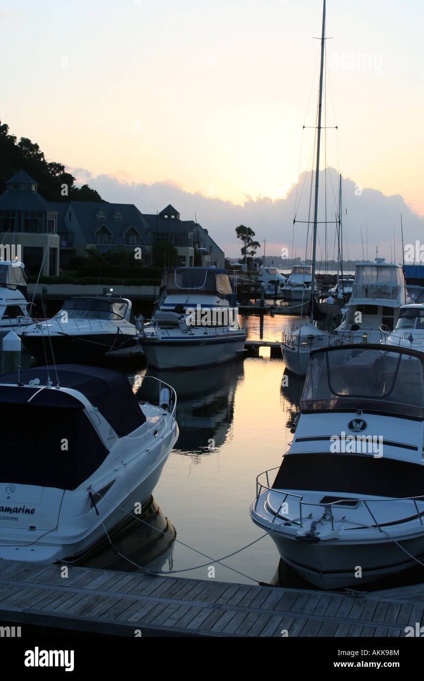 Boats in harbour at dawn - Stock Image