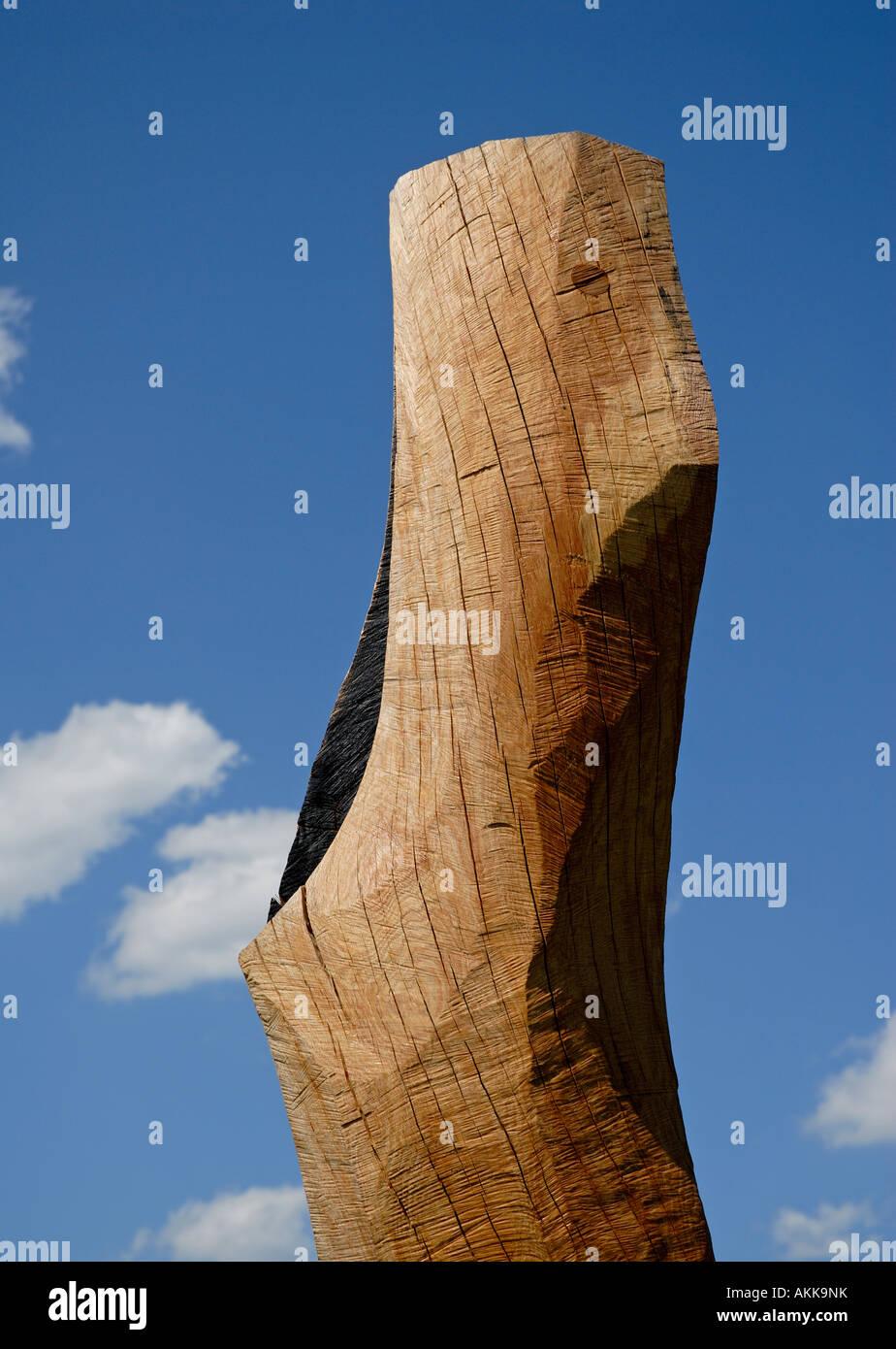 Wooden sculpture by English  sculptor David Nash Stock Photo