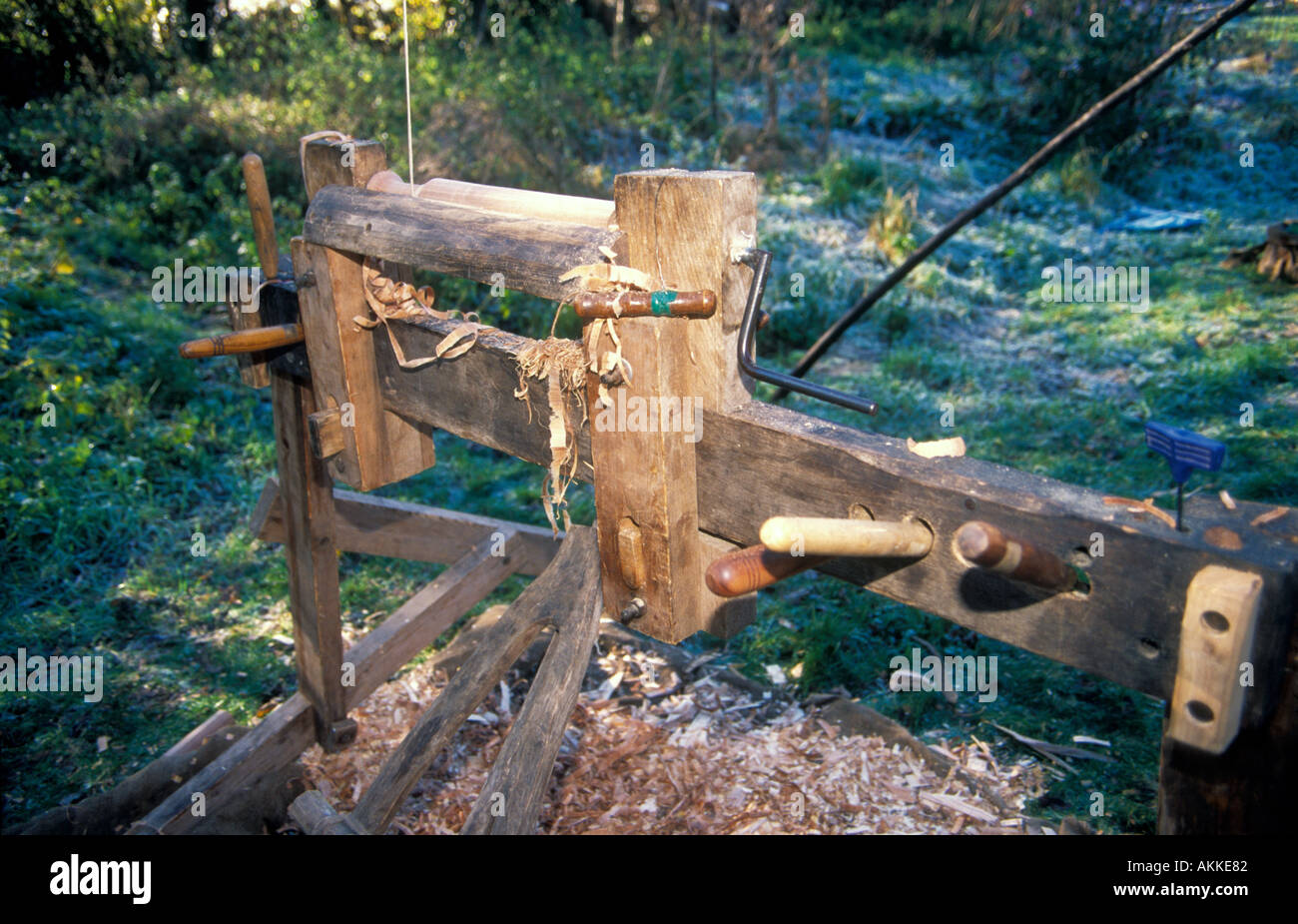 A pole lathe used by Mike Abbott a coppice craftsman - Stock Image