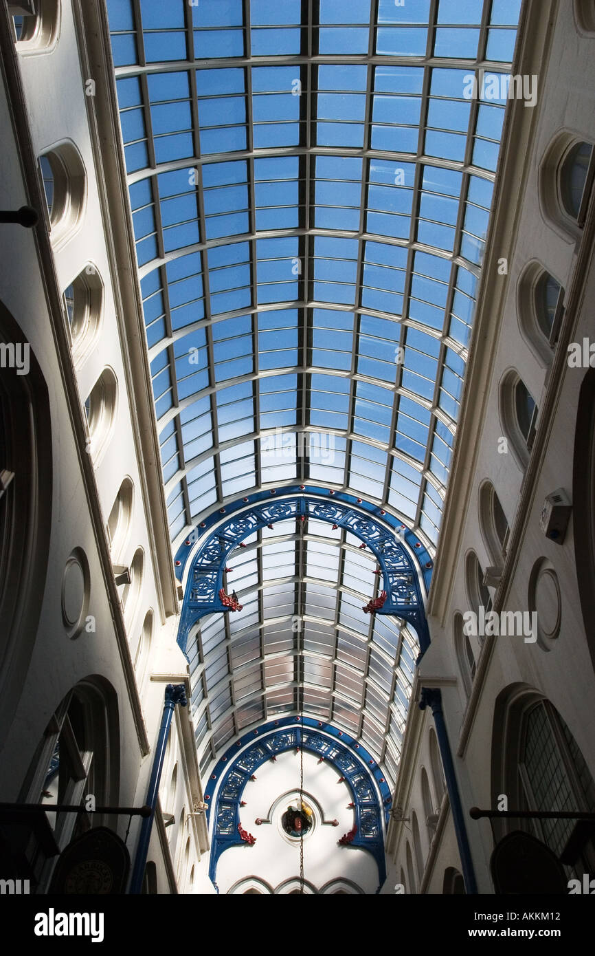 Blue Sky through the Glass Roof over Thorntons Arcade in The Victoria Quarter Leeds West Yorkshire England - Stock Image