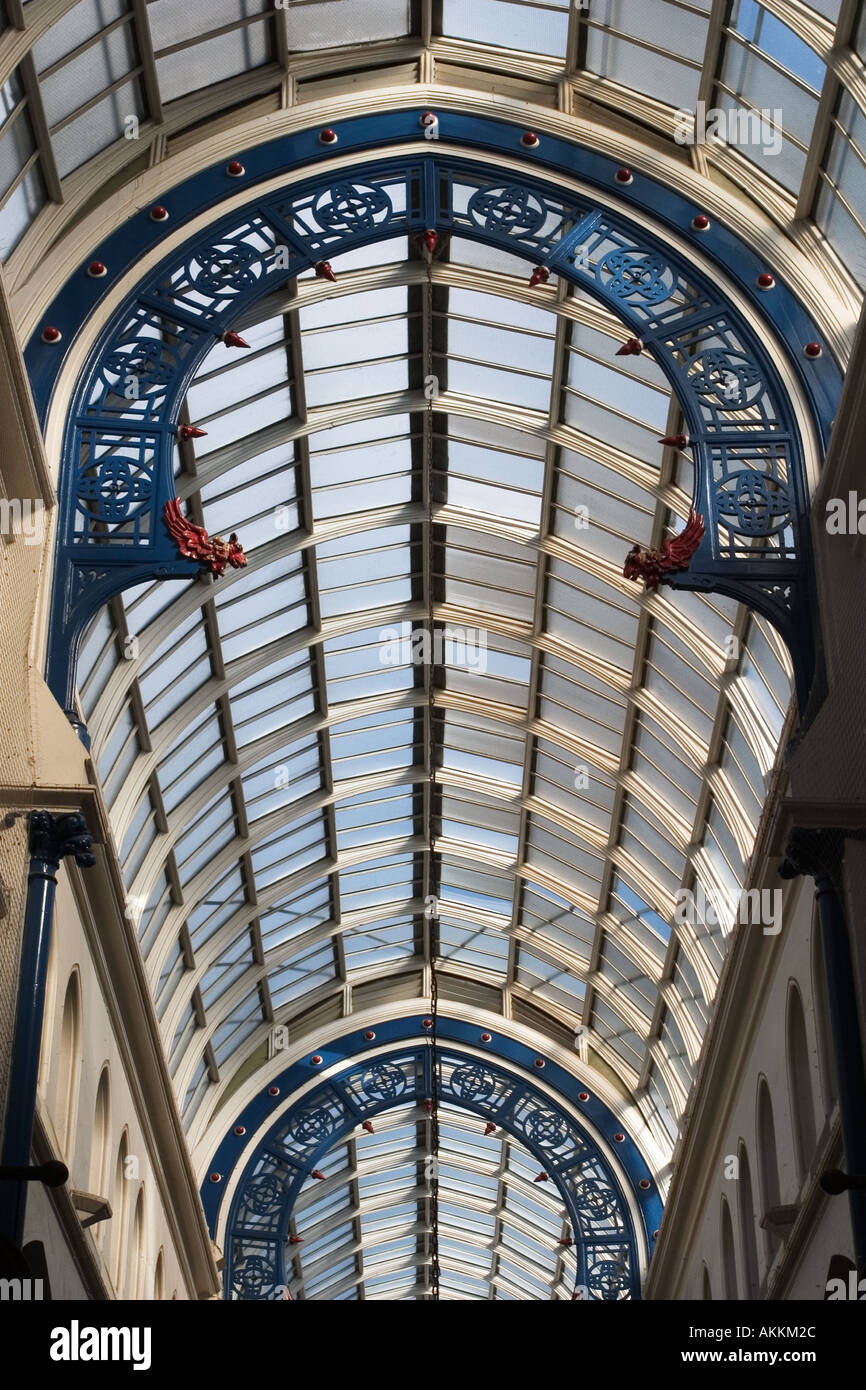 Glass Roof over Thorntons Arcade in The Victoria Quarter Leeds West Yorkshire England - Stock Image