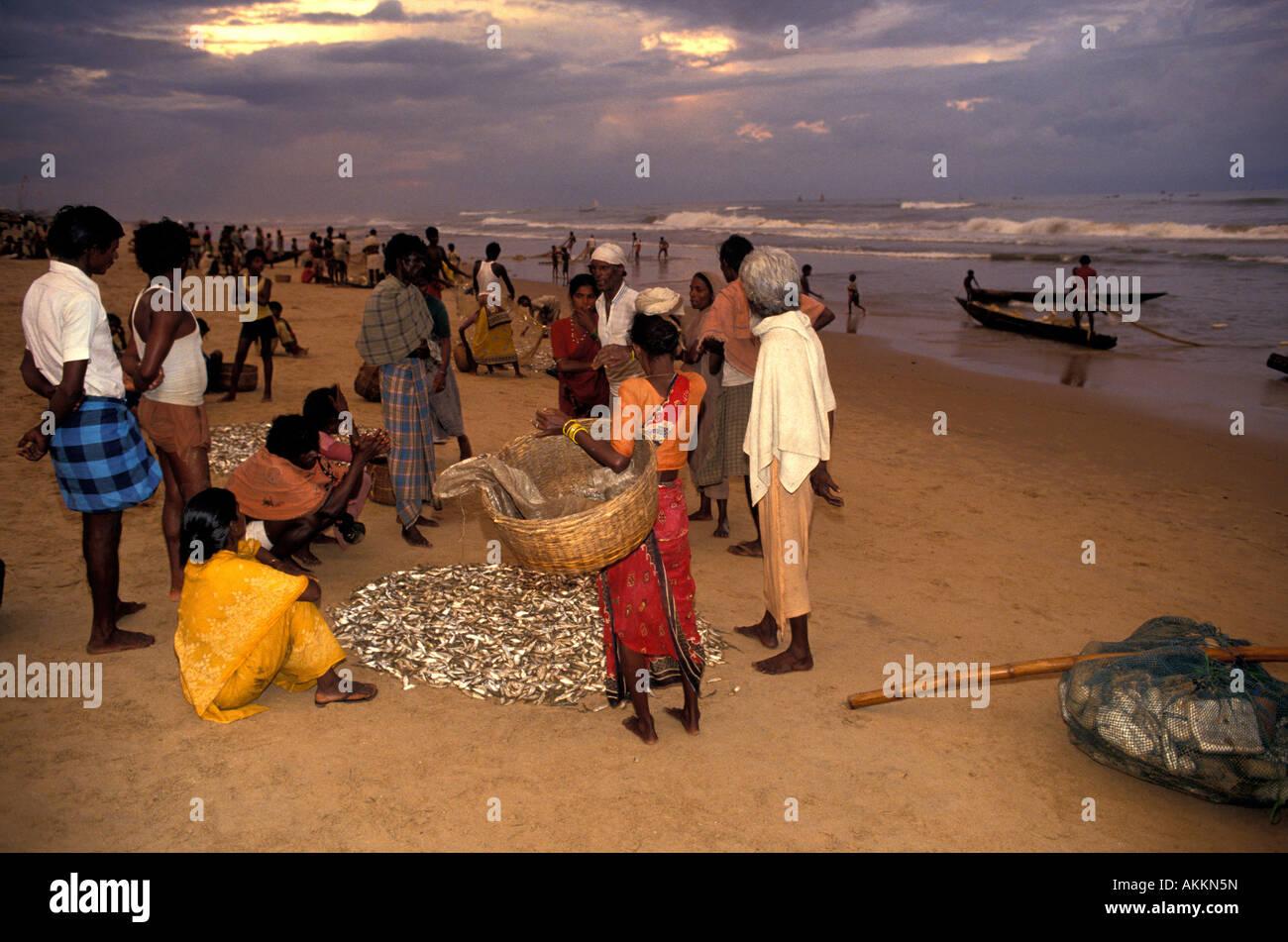 India, Orissa, Puri, beach on Indian Ocean, fishermen Stock Photo