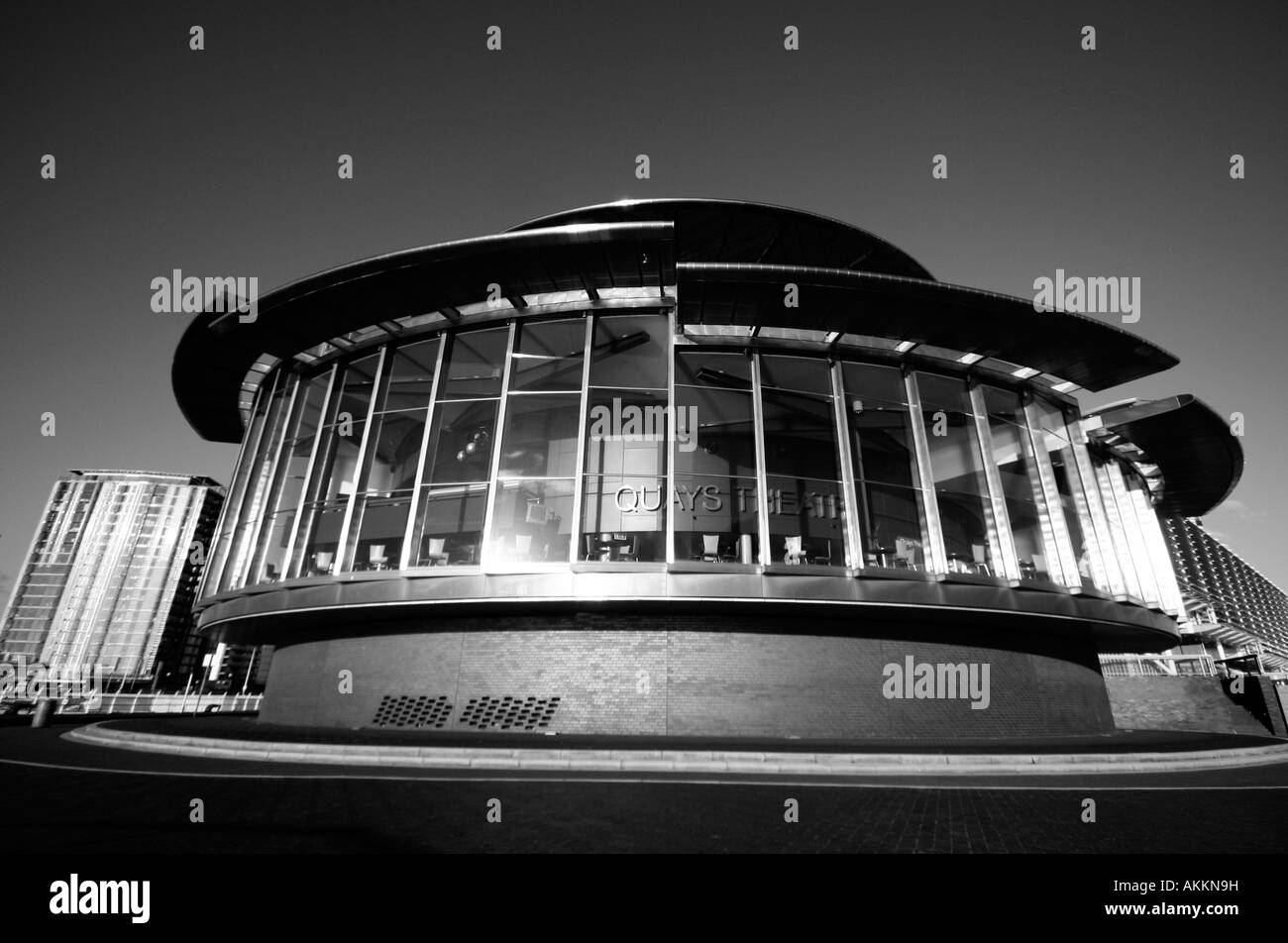 Wide angle view of The Lowry, Salford Quays, Manchester, UK - Stock Image