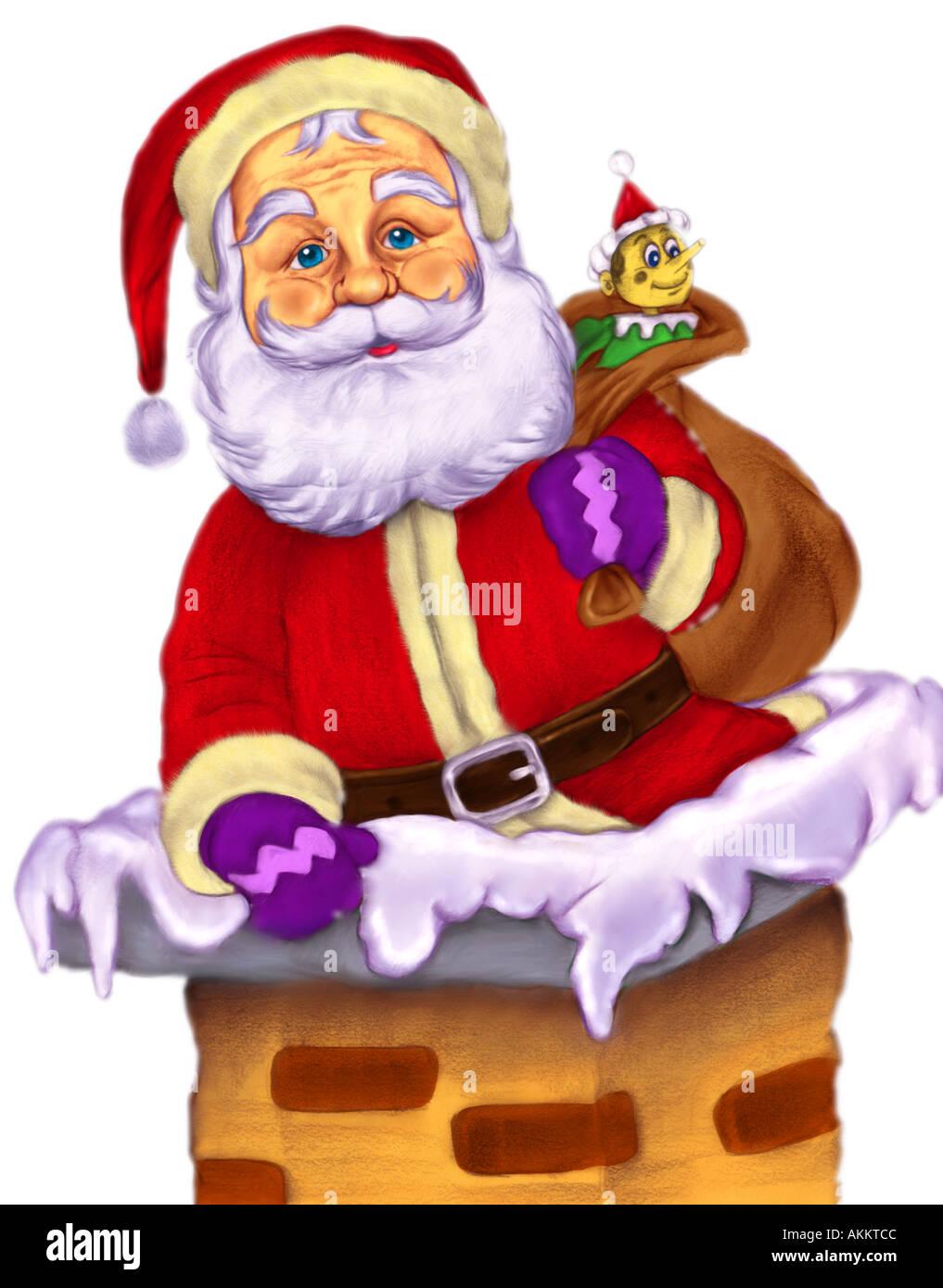 christmas illustration of santa climbing down a chimney stock photo