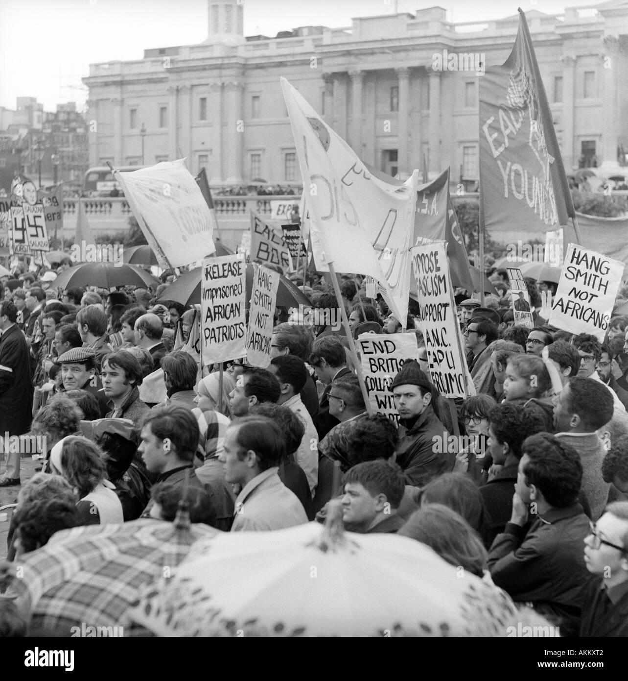 1968 Demonstration in Trafalgar Square, London protesting about Ian Smith's unilateral declaration of Independence Stock Photo