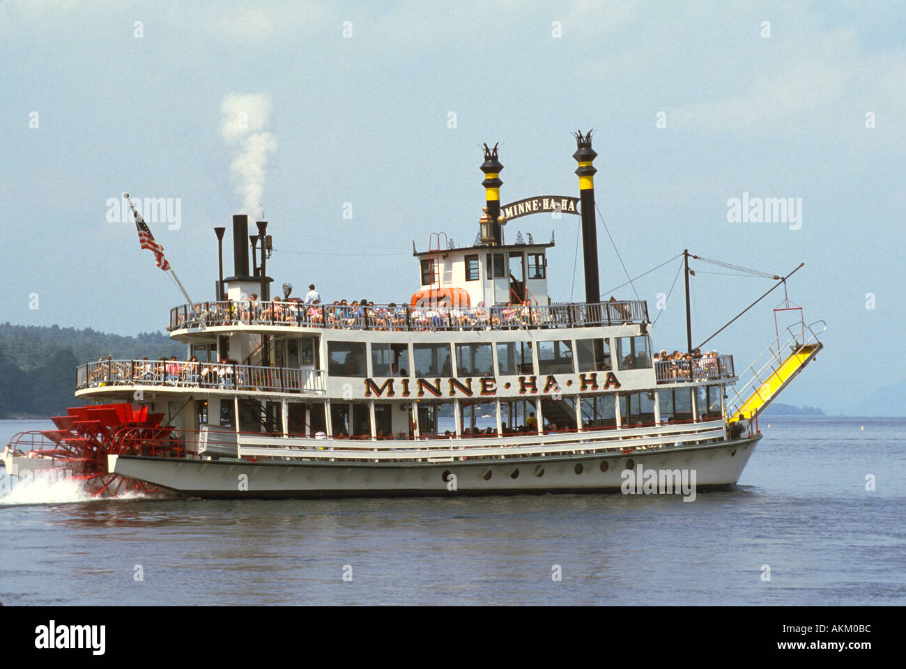 Paddle Wheel Steam Boat On Lake George New York