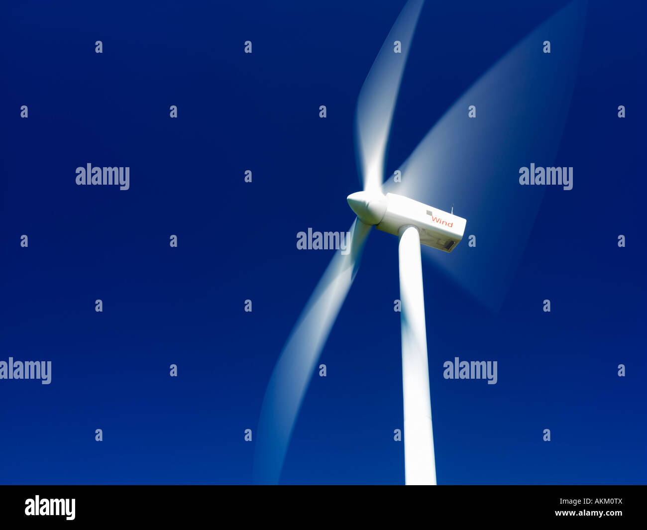 Canada Ontario Tiverton wind turbines used for generating electricity and hydro power lines - Stock Image
