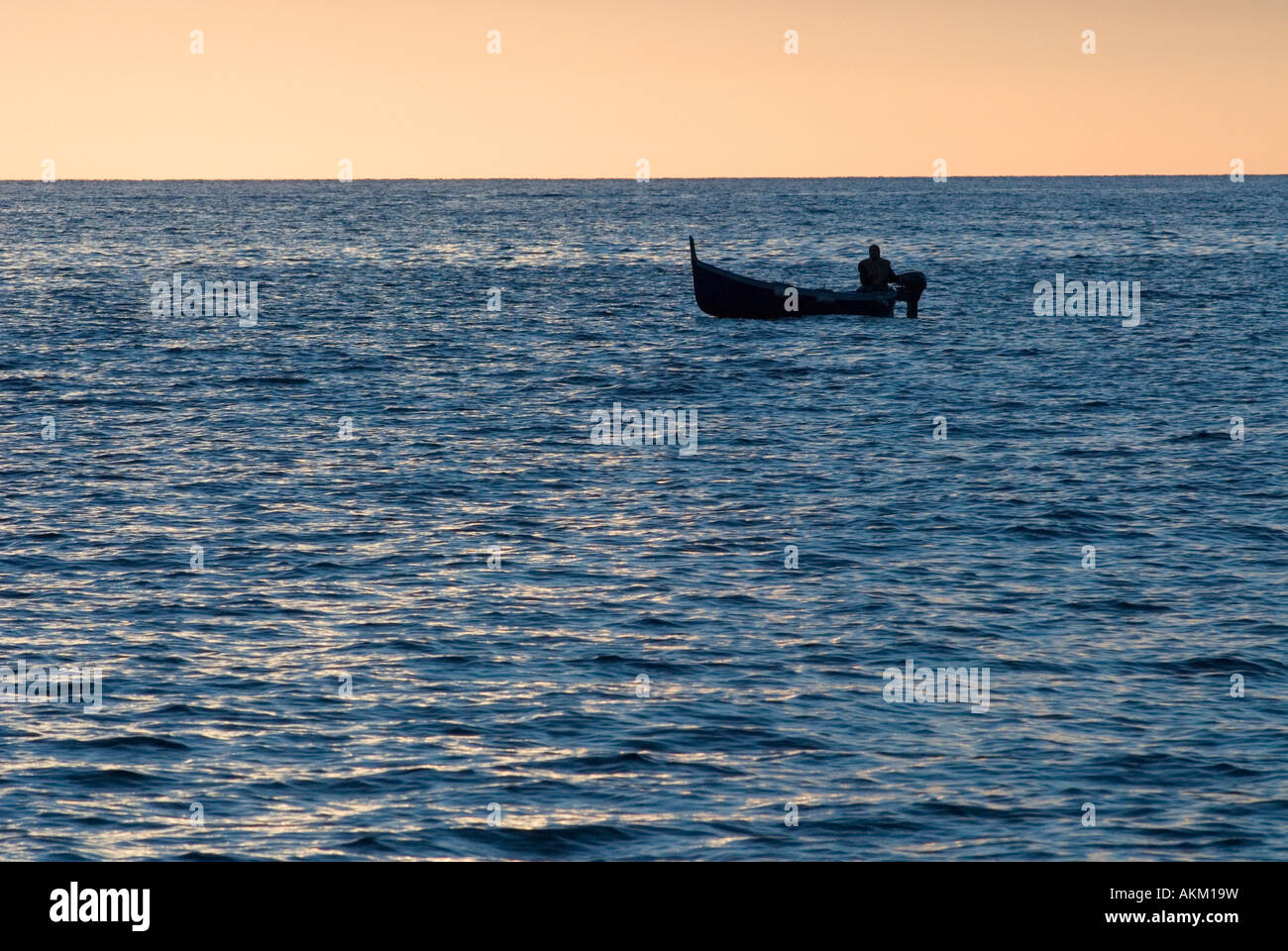 small fisher boat in evening National Park Cinque Terre Liguria Italy - Stock Image