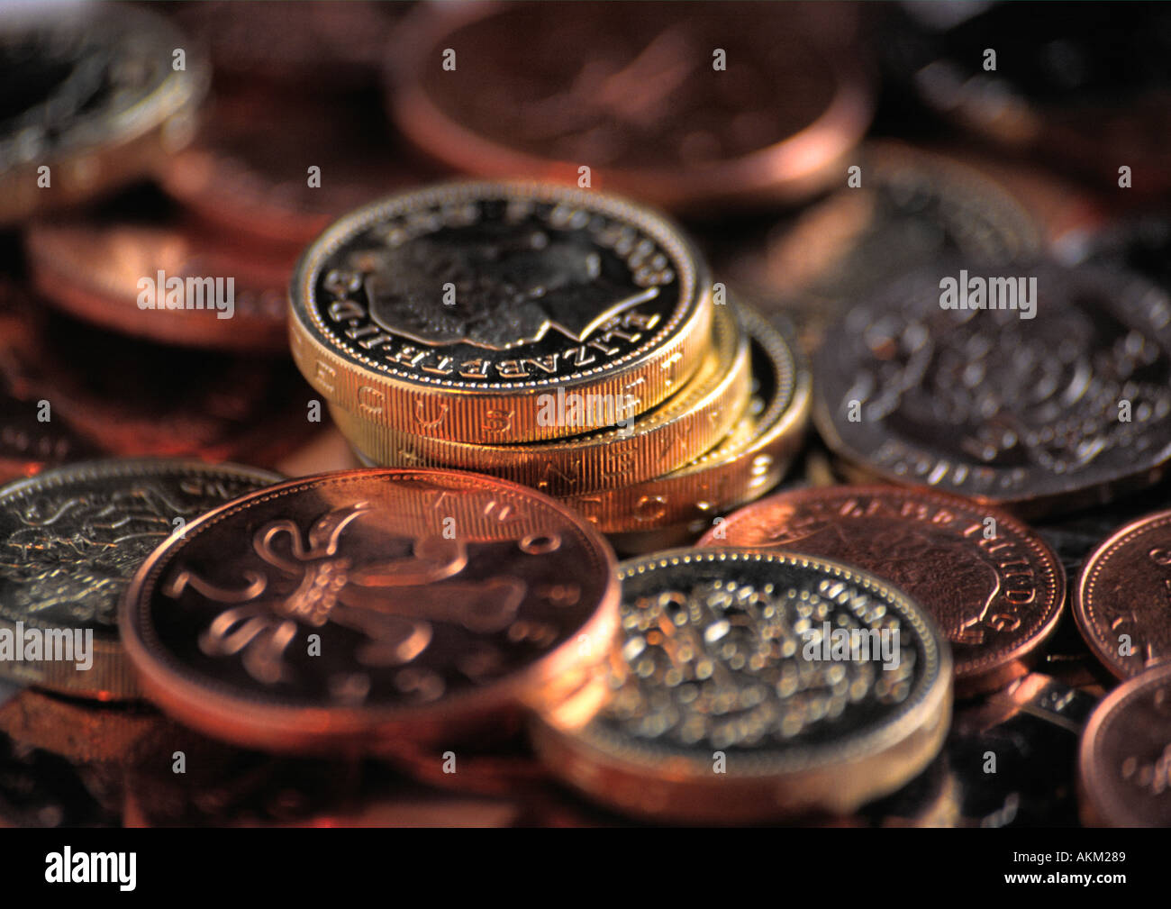 Sterling coins in close up - Stock Image
