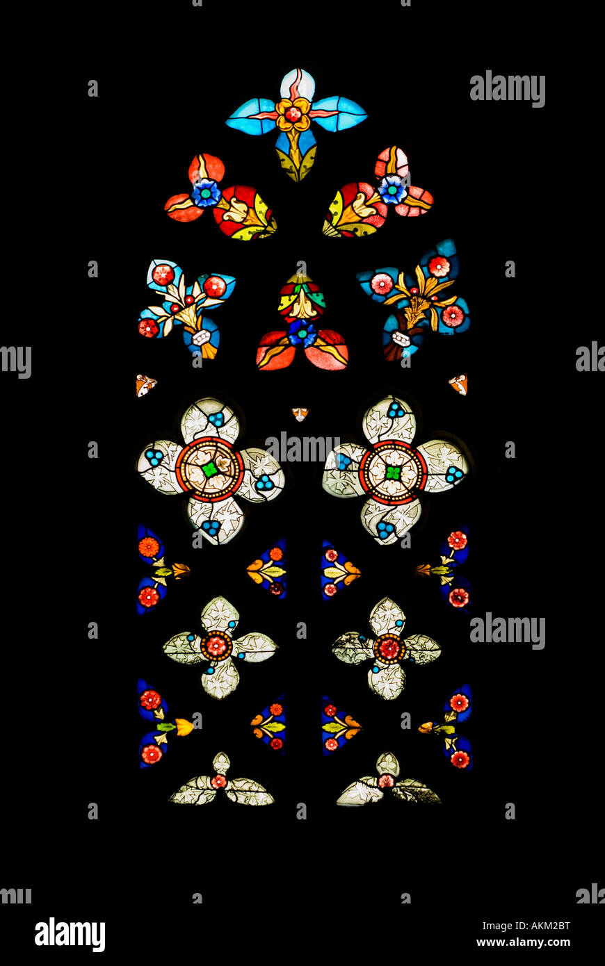 Gothic Stained Glass Window in Spanish Church of San Severino, Balmaseda, The Basque Country, Spain Stock Photo