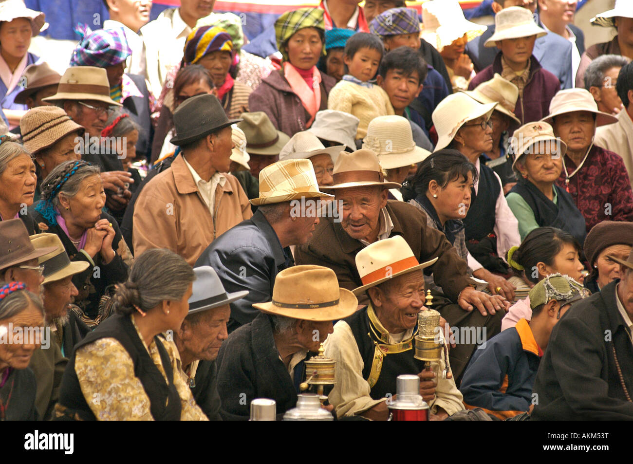 Crowd of Tibetans in a festive mood Shoton festival the Summer Palace Tibet Stock Photo