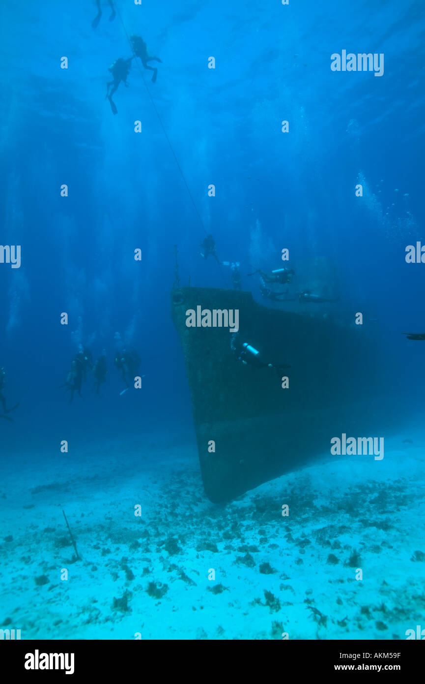 Overall view of C53 shipwreck bow Cozumel Mexico - Stock Image