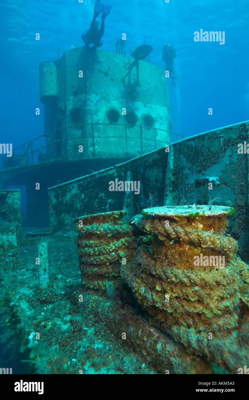 Lines on C53 shipwreck Cozumel Mexico - Stock Image