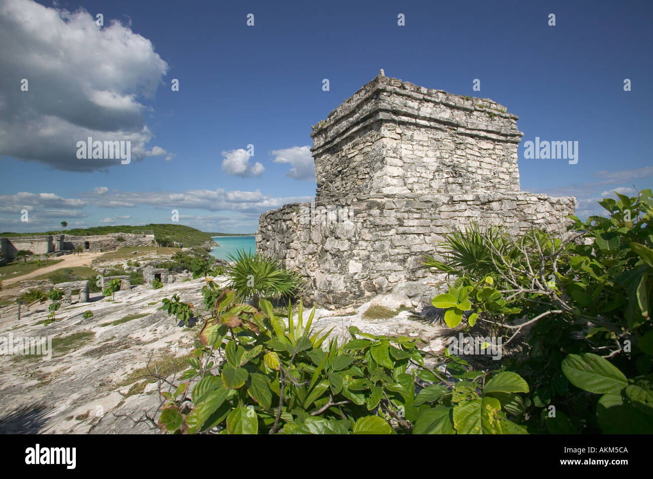 Mayan ruins on waterfront Tulum Mexico - Stock Image