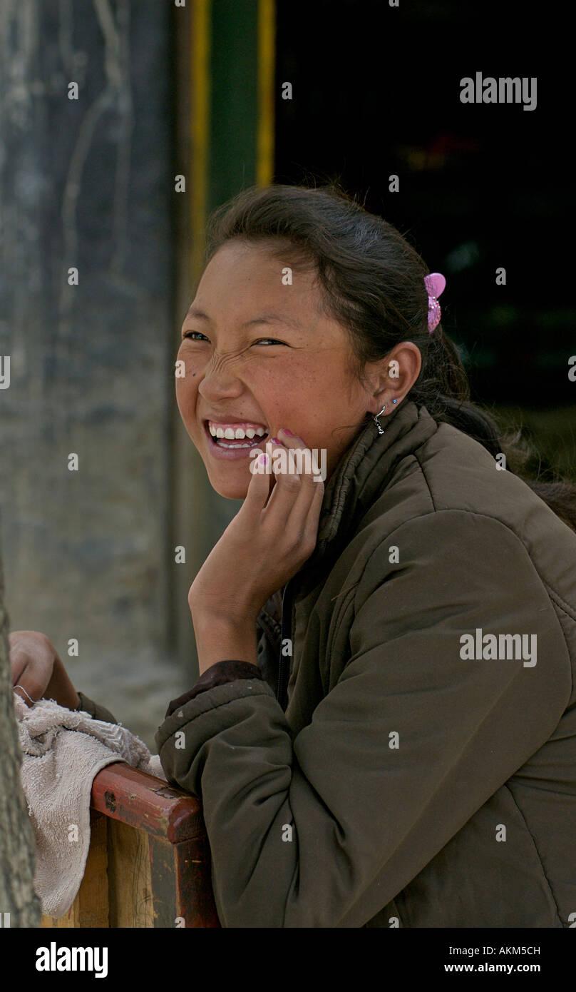 Cheerful Tibetan girl Gyantse TibetStock Photo
