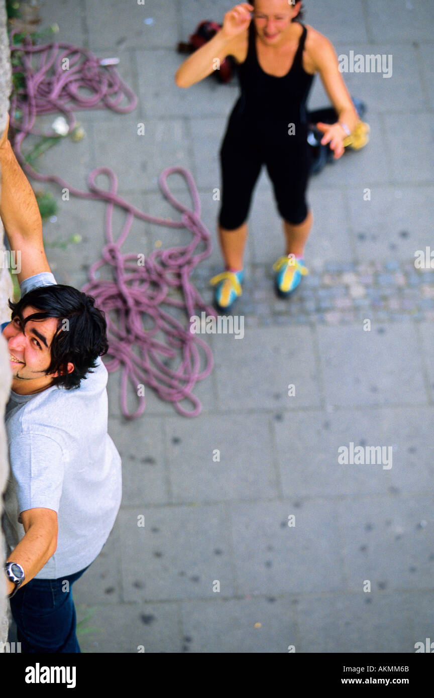 Germany Free time Young man climbing  - Stock Image