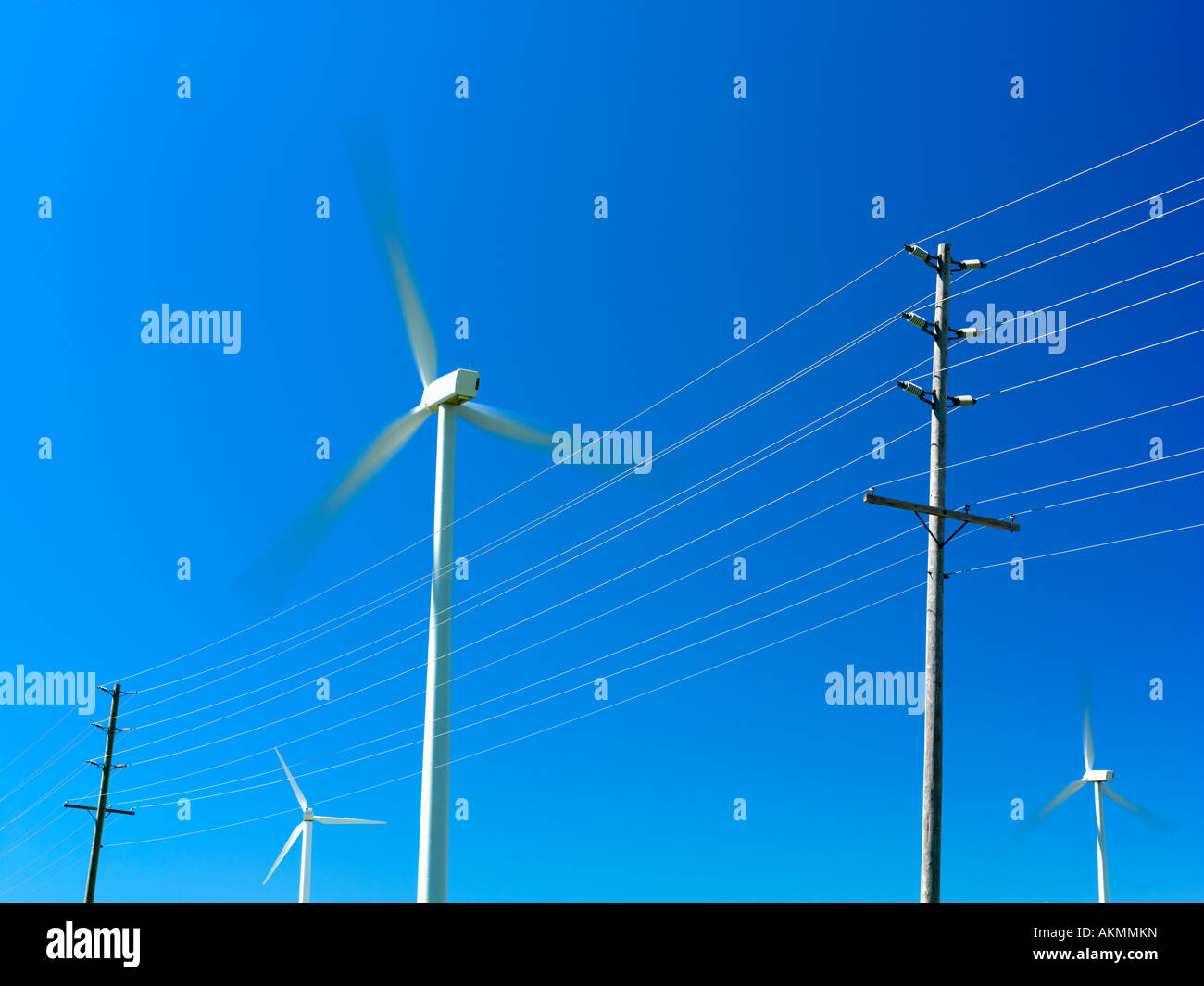 Generating Electricity Stock Photos Canada Ontario Tiverton Wind Turbines Used For And Hydro Power Lines Image