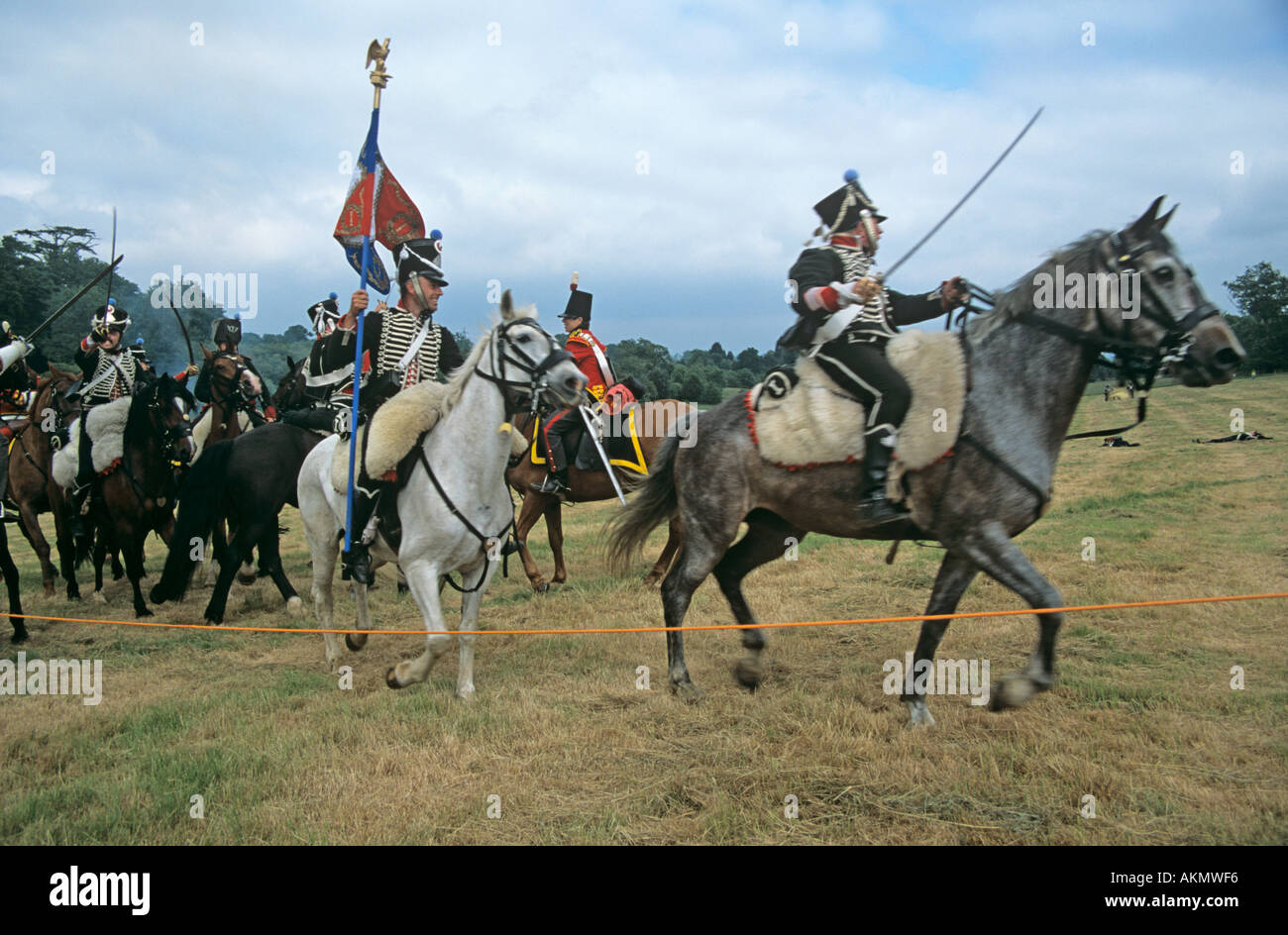 SURREY UK June The re enactment of the Battle of Waterloo the French Cavalry attacking the British Line - Stock Image