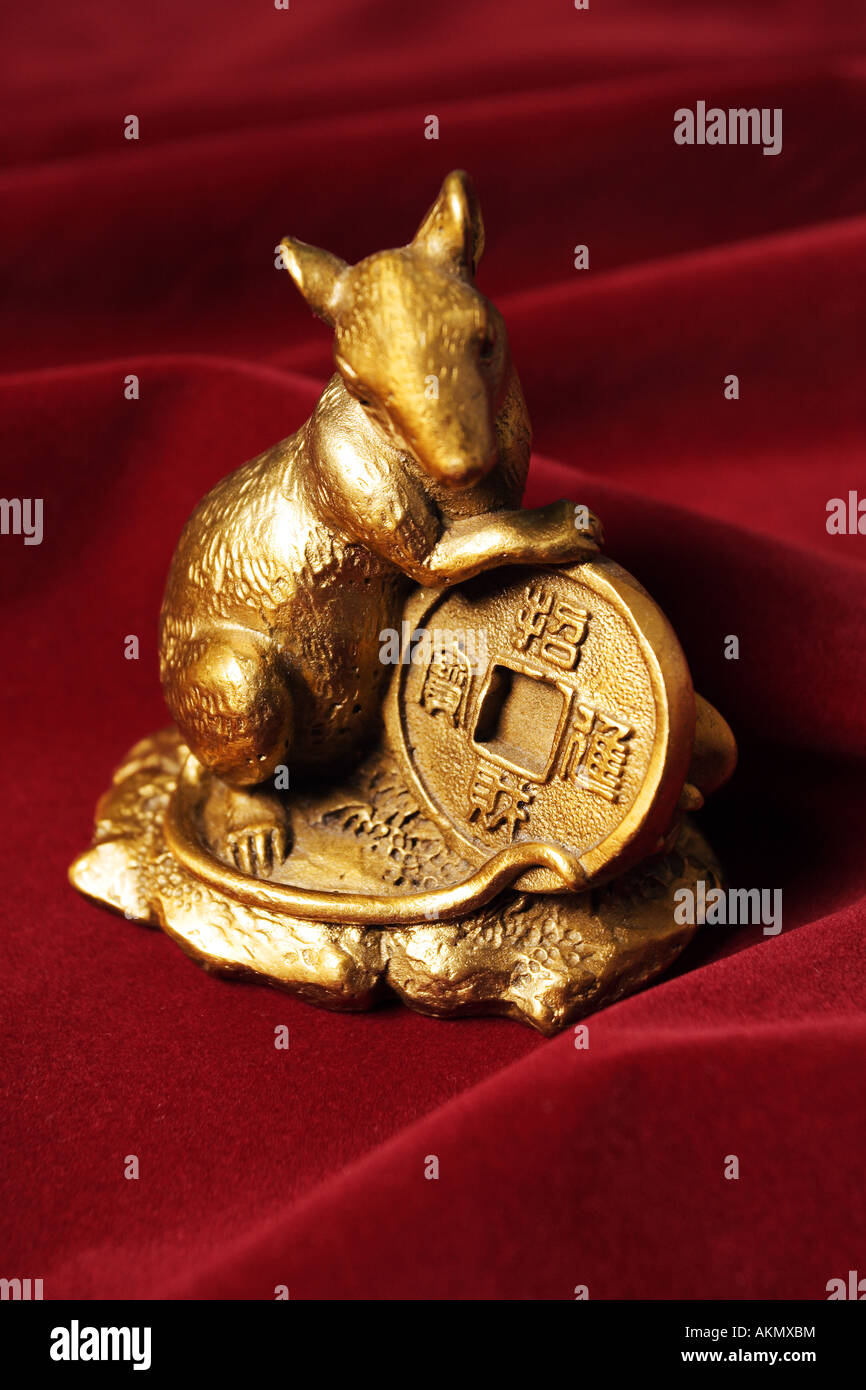 Chinese Zodiac Rat Statue with Big Golden Coin