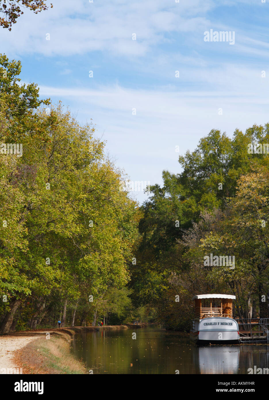 Volunteers dressed in period clothing operate the canal boat Charles F Mercer towed by two mules Great Falls National - Stock Image