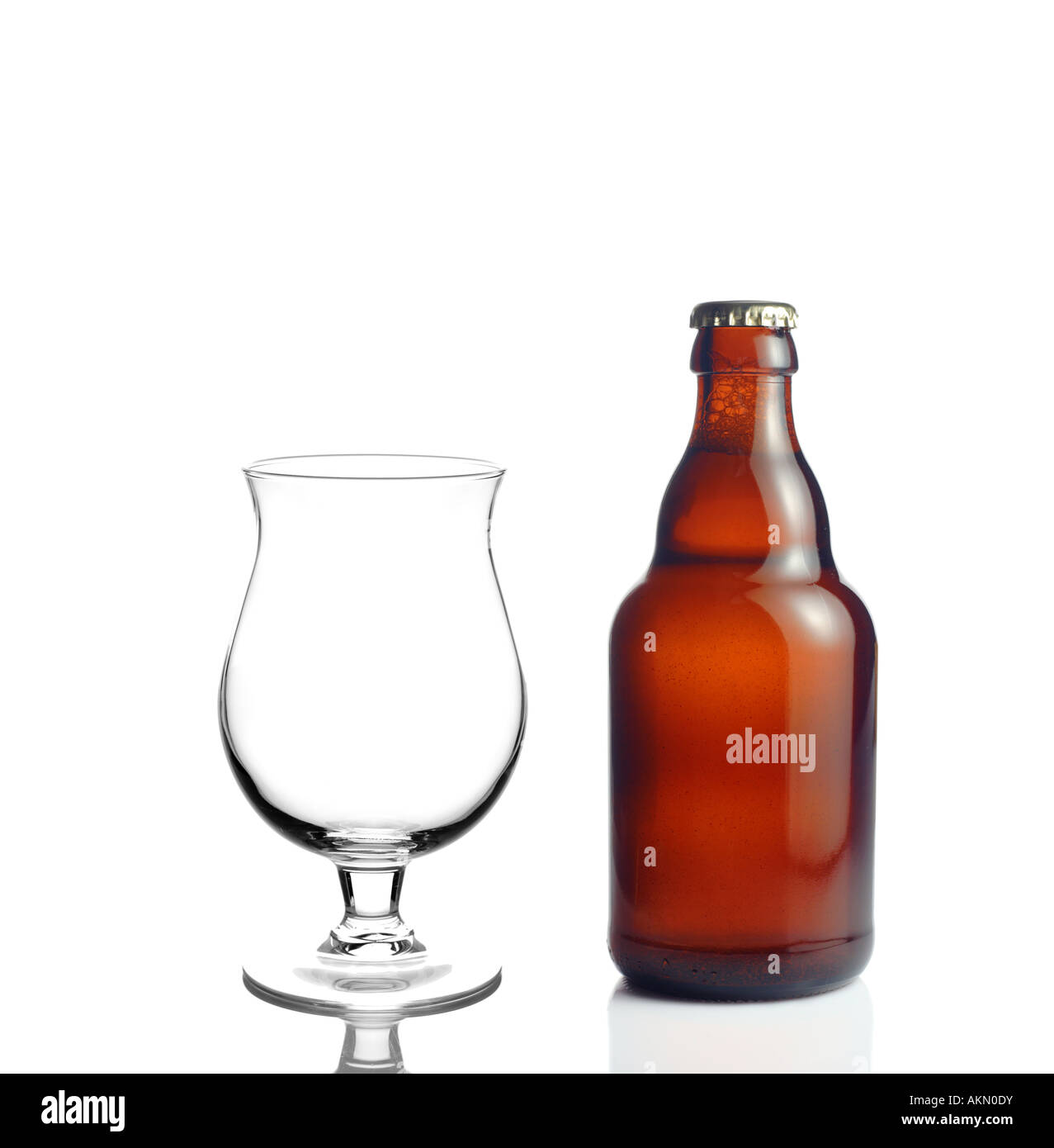 Beer glass and a beer bottle - Stock Image