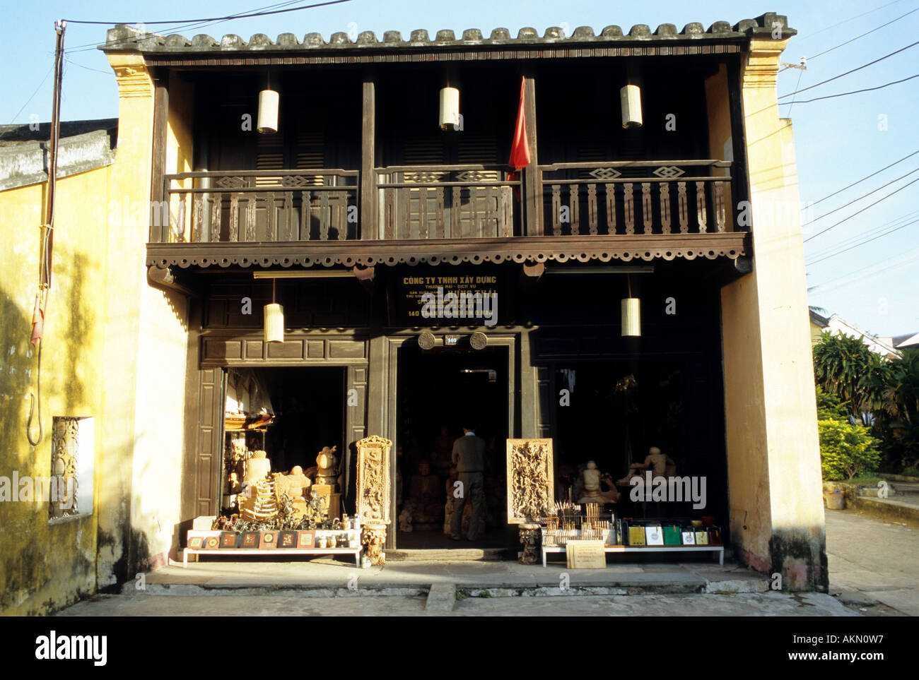 Traditional shophouse  in Tran Phu St, early morning, Hoi An, Viet Nam Stock Photo
