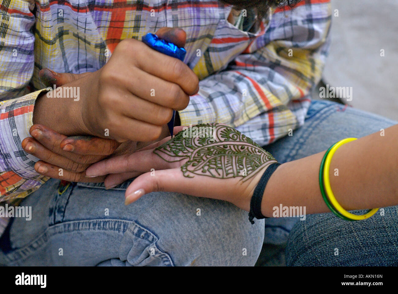 Detail of the henna painting of a hand An Indian and Nepalese custom Kathmandu Nepal - Stock Image
