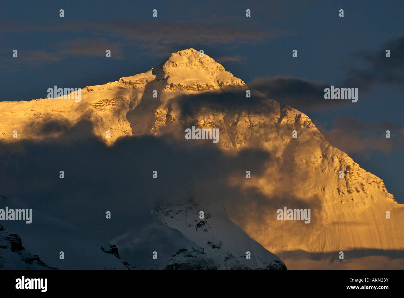 Mount Everest at sunset viewed from Base Camp Tibet - Stock Image