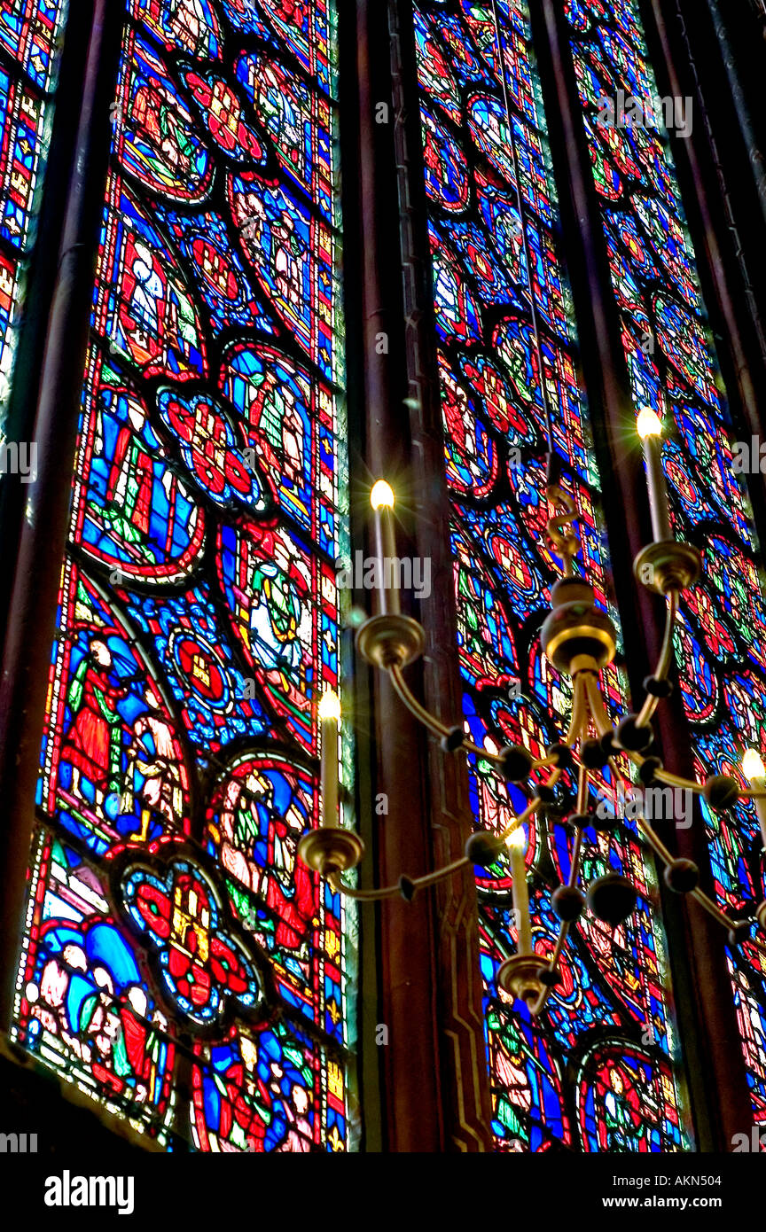 Paris France Monument Sainte Chapelle High Gothic Architecture Chapel Stained Glass Window Detail Church
