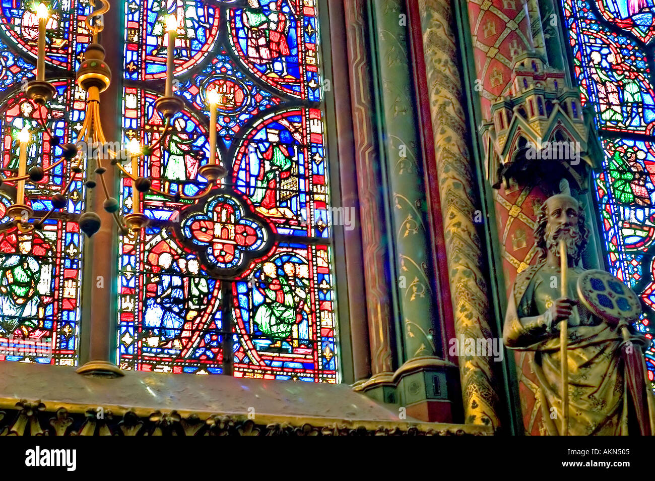 Paris France Monument Sainte Chapelle St High Gothic Architecture Stained Glass Windows Detail