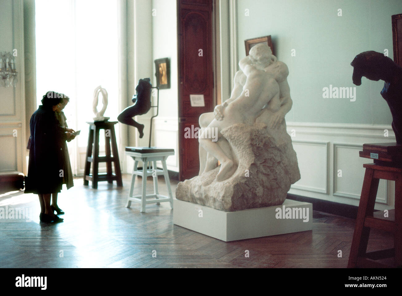 "Paris France, People in Rodin Museum ""Musee National Rodin"" (""H tel Biron"") Interior Exhibit Art Gallery Modern Stock Photo"