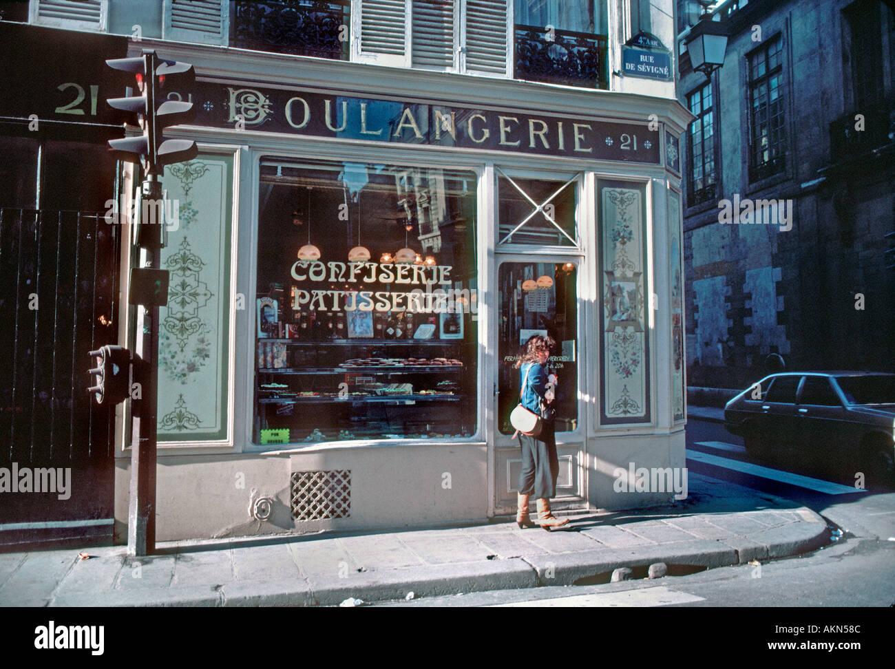 Paris France Old French Bakery Boulangerie Patisserie Exterior Vintage Shop Front Rue De Sevigne Before Renovations