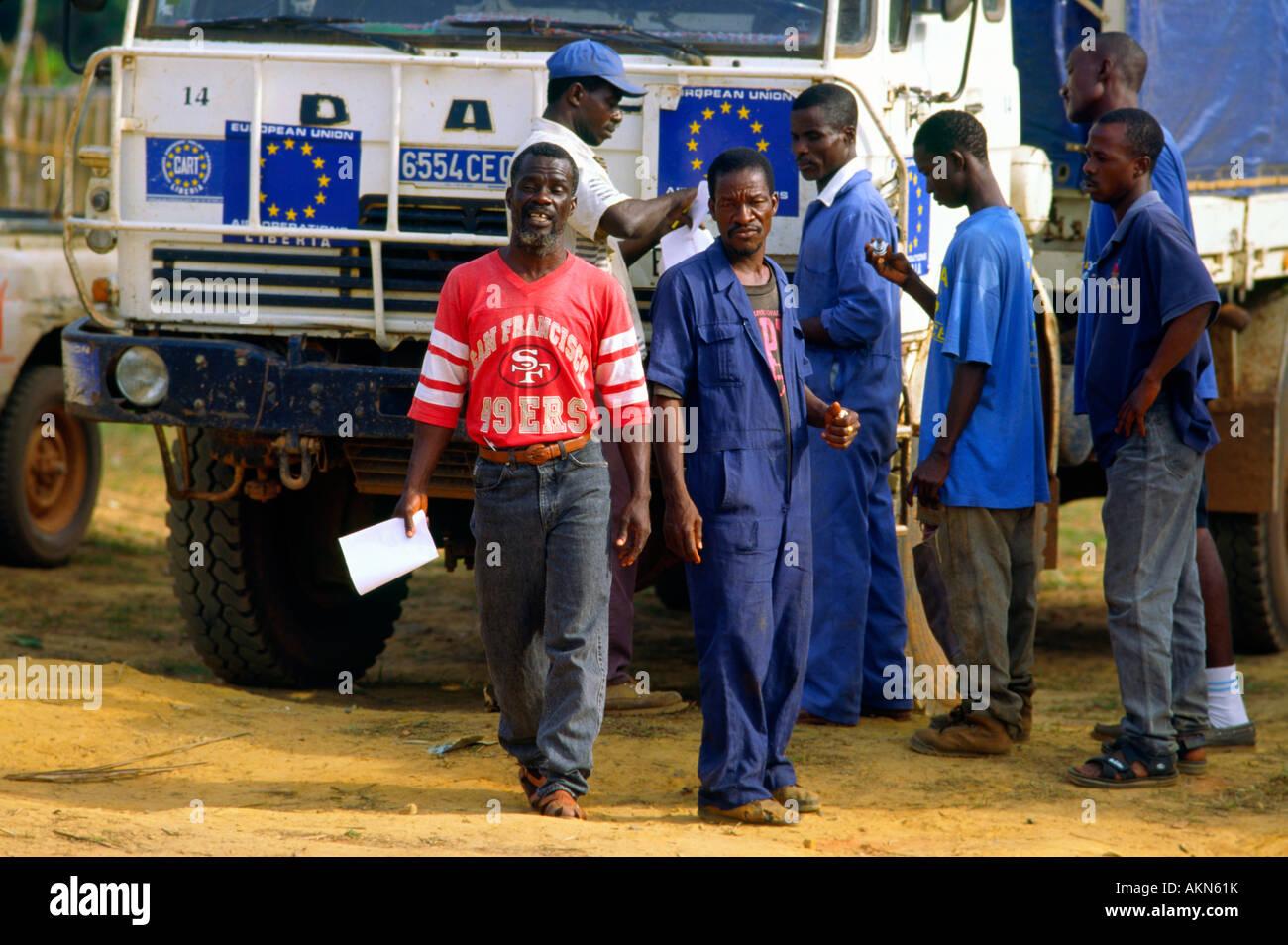 Local workers in European Union aid compound in Zwedru Liberia - Stock Image