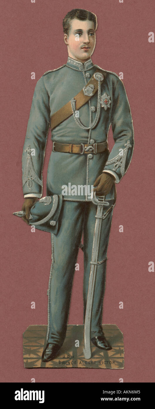 Chromolithographed die cut scrap of 'Eddy', Prince Albert Victor, Duke of Clarence (1864-92) circa 1880 Stock Photo