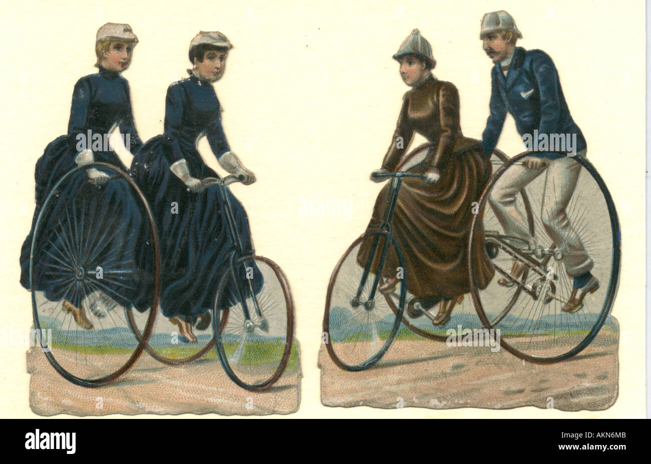 Chromolithographed die cut scraps of tricycling circa 1875 - Stock Image