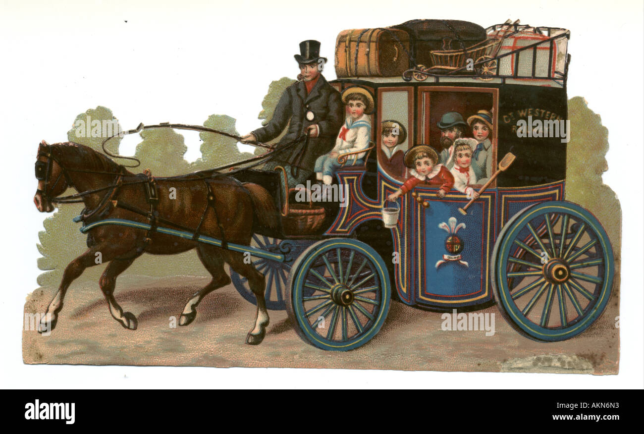 Chromolithographed die cut scrap of seaside visitors arriving by Great Western Railway coach circa 1880 - Stock Image
