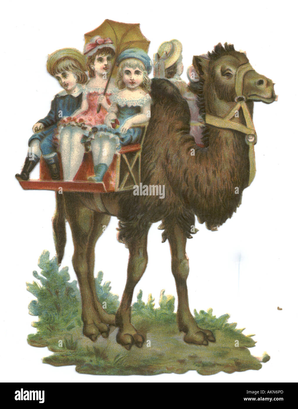 Chromolithographed die cut scrap of children having a camel ride at zoo circa 1880 - Stock Image