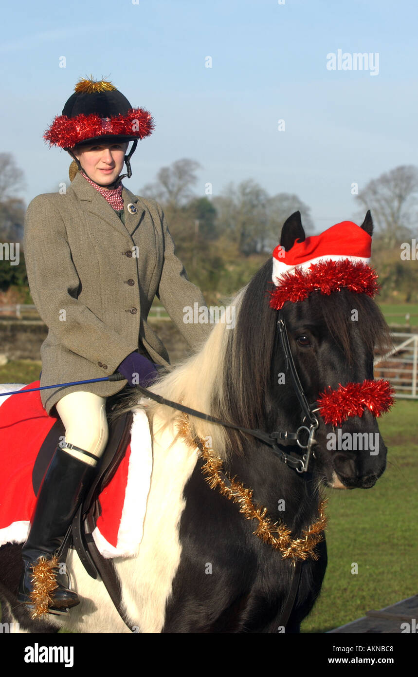 Rider Dressed Up In Christmas Fancy Dress At A Foxhunt Meeting Stock Photo Alamy