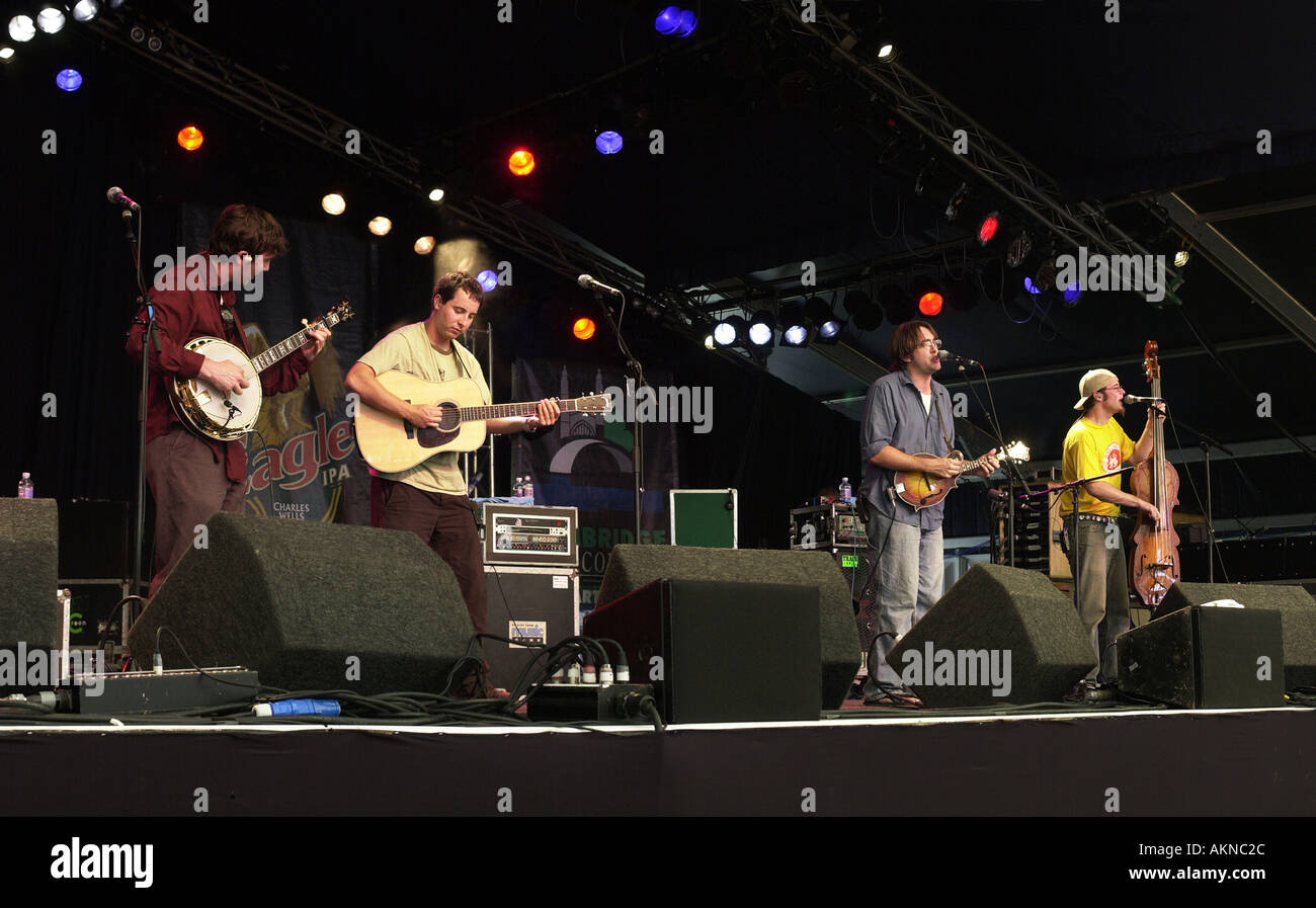 Yonder Mountain String Band performing at the Cambridge Folk Festival, England - Stock Image