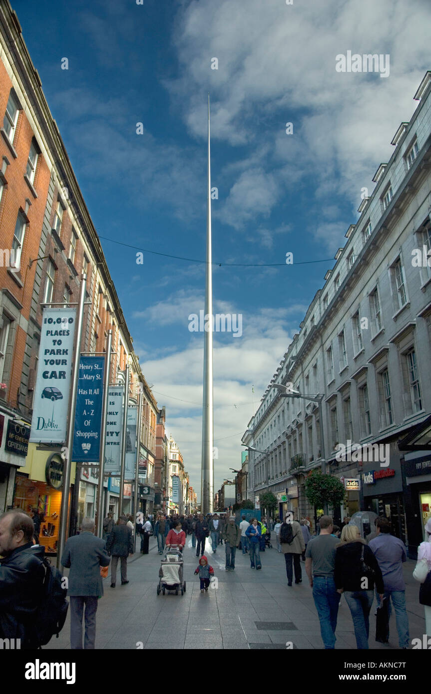 The magnificent soaring Spire of Dublin viewed from Henry Street Dublin Ireland - Stock Image